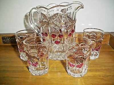 Miniature Cherry Pitcher And Glasses