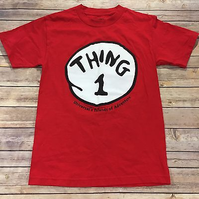 "Universal Studios Adult Size S Short Sleeved Red Crew Neck ""Thing 1"" T-Shirt"