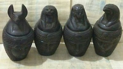 Lot of 4 Egyptian Canopic Jars, Anubis, HORUS, Isis  & tefnut, see description