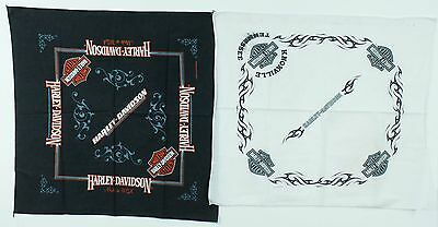 Vintage Black White Blue Harley Davidson Motorcycle Biker Cloth Bandana Lot