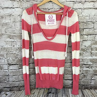 Women's Victoria's Secret PINK Striped Pullover Hooded Knit Sweater Size XS