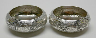 EGYPTIAN Solid SILVER Elaborately Chased ENGRAVED Caviar BOWLS 1939 Qty 2 Birds