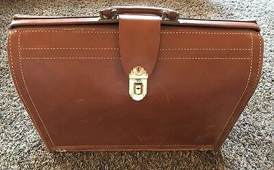 REXBILT USA Vintage Cowhide BROWN LEATHER BRIEFCASE Doctor Lawyer Student Bag