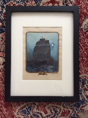 1910 Signed Watercolor Clipper Sailing Ship In Moonlight