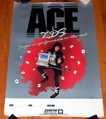 ACE FREHLEY ZDS Zenith Data Systems Computer Promo Poster KISS Solo 1990s