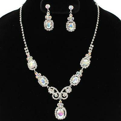 Formal Pageant Wedding Clear AB Crystal Princess Ovals Fashion Necklace Set
