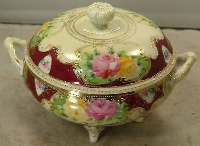 "Antique Japanese Nippon Footed Covered Candy Dish, Bowl, Excellent Cond, 5.25"" H"