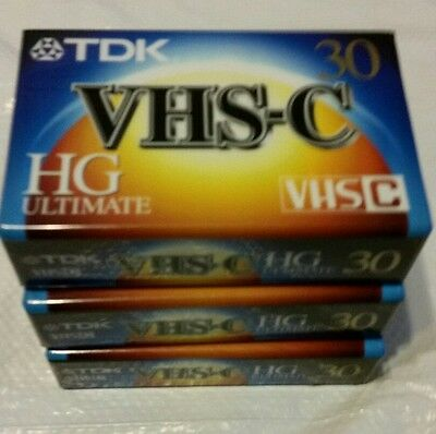 Lot of 3 TDK VHS-C HG Ultimate 30 Factory Sealed Tape