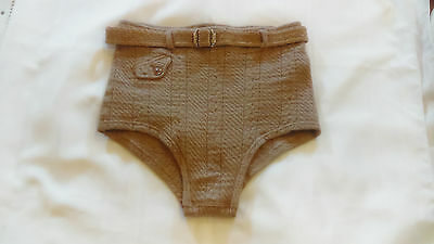 1920s vintage men's swimsuit, wool with belt and coin pocket, beige color