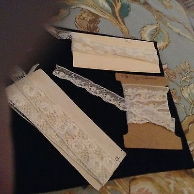 """Antique French Val Laces 37"""", 31 1/2"""", 31 inches,/Black Lace 3 3/4"""" long 3"""" wide"""