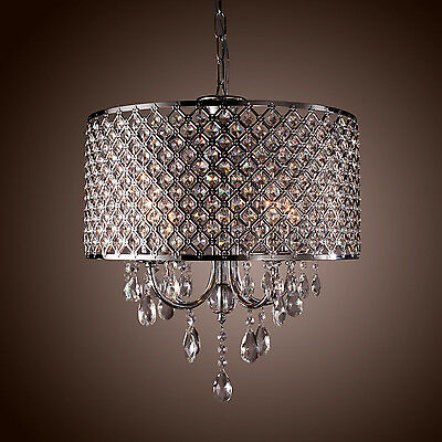 DRUM CHANDELIER CRYSTAL Ceiling Fixtures 4 Lights For Bedroom Living ...