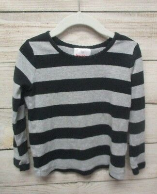 Hanna Andersson Girls T Shirt Long Sleeves Black Gray Stripes Size 100 (4T)