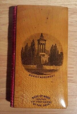 Antique MILWARDS CLARKS ONT MAUCHLINE WARE Sewing NEEDLE CASE Advertising 1857