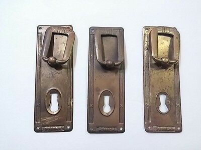Lot of 3 Vintage Thin Metal Door Lock Face Plates Key Hole Covers