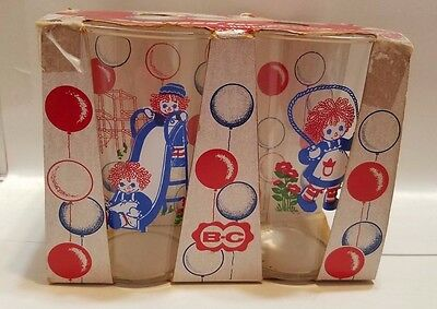 Vintage Raggedy Ann Drinking Glasses 1977 New In Box Lot Of 4