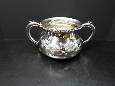 Vintage Southington C Co Quadrupal Silverplate sugar bowl Repoussed chase etched