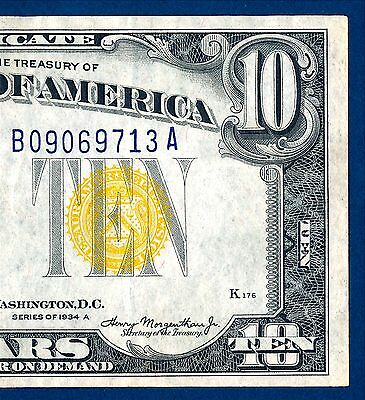 1934 A $10 North Africa Silver Certificate   Very Nice     Still  Crispy!