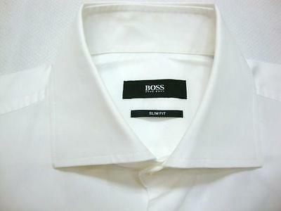HUGO BOSS SLIM FIT White Woven Long Sleeve Shirt 15 - 34/35
