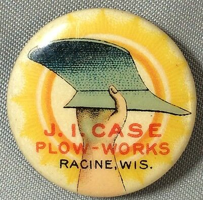 Orignl JI CASE PLOW WORKS Farm Machinery RACINE WI Advertising Celluloid Pinback