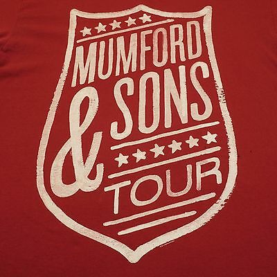 Mumford & Sons Large Short Sleeve 2013 Tour Graphic T-Shirt - Red