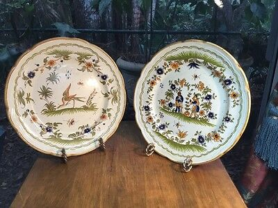 Vintage Pair Of Handpainted Italian Made repros of French Moustiers Plates