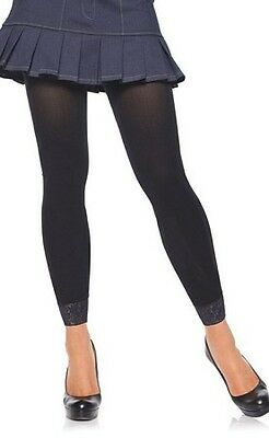 Leg Avenue Footless Tighs With Lace Trim 7883 Black One Size Fits All