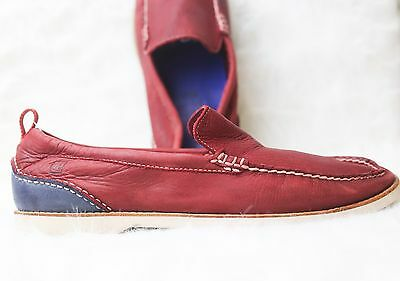 Sperry Red and Blue Leather Top Sider Loafers Men's Size 12