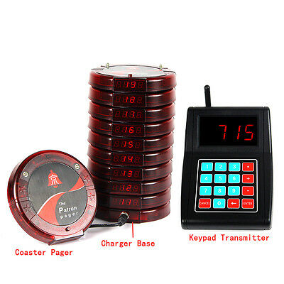 Wireless Queue Paging calling system 10*Digital Coaster Pager+Keypad Transmitter