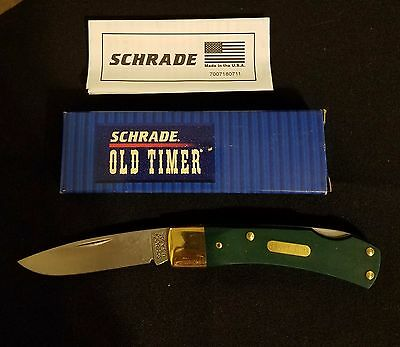 VINTAGE SCHRADE USA 5OT 50t  KNIFE  GREEN  OLD TIMER NEW IN BOX