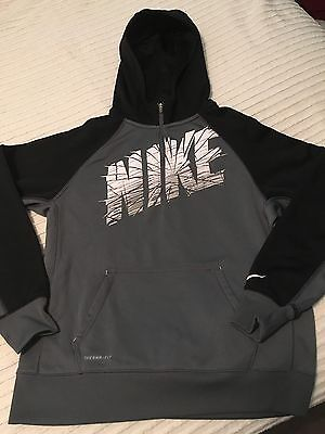 Nike Therma-Fit Boys Grey and Black 1/4 Zip Jacket Hoodie Size XL Logo