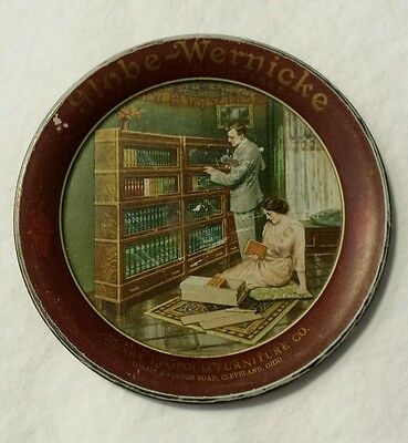 Antique Globe Wernicke Sectional Barrister Bookcase Tin Lithographed Tip Tray