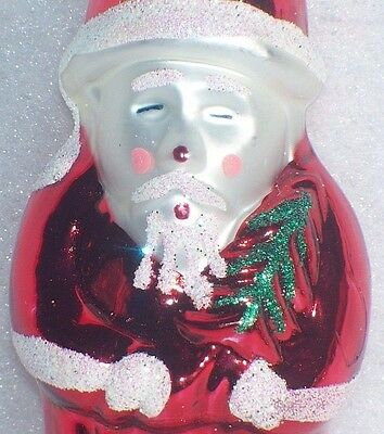 Santa Claus Holding Christmas Tree Glittered Frosted Glass Ornament