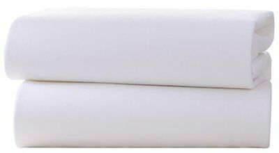 Clair de Lune Pram  Crib Cotton Jersey Fitted Sheets  Pack of 2, White