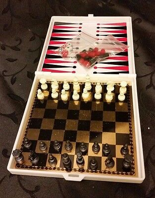 Knight Moves Movie Travel Chess Checkers Backgammon Set Magnetic Vintage 1992