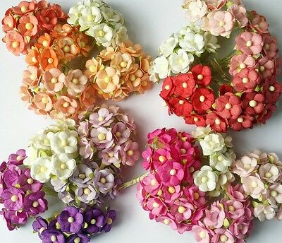 50 pcs Mix Color Double Layer Mulberry paper Flower Scrapbooking Crafts 1.5cm