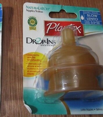 New Playtex Drop-Ins Nurser Bottles Brown Latex Nipples Slow Flow 0-3 Months NIP