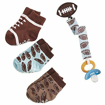 Mud Pie Football Sock and Pacy Clip Set, Brown 1592085
