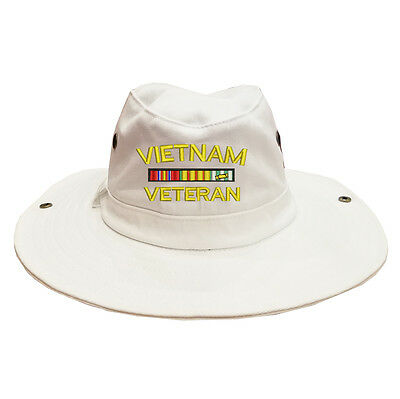 ace29f07256 100% Cotton Military Boonie Bush Hiking Outdoor Hat VIETNAM VETERAN RIBBON