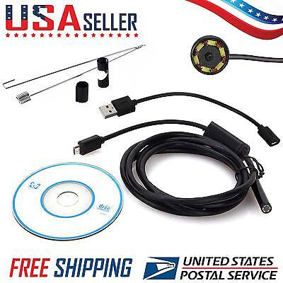 2M Waterproof Endoscope Android 5.5mm Bore-scope Inspection 6 LED USB Camera USA