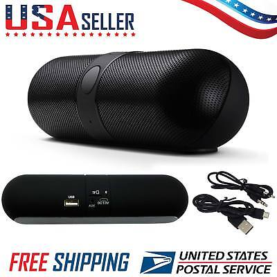 Mini Wireless Bluetooth Stereo Pill Speaker Boombox All Phones Tablet PC Laptop