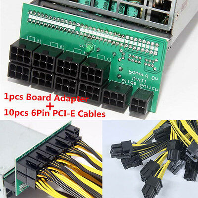 DPS-1200FB/QB A Power Module Breakout Board + 10 Cable 6 pin for Ethereum Mining