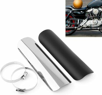 Black Universal Fit Exhaust Muffler Pipe Heat Shield Cover Heel Guard Motorcycle