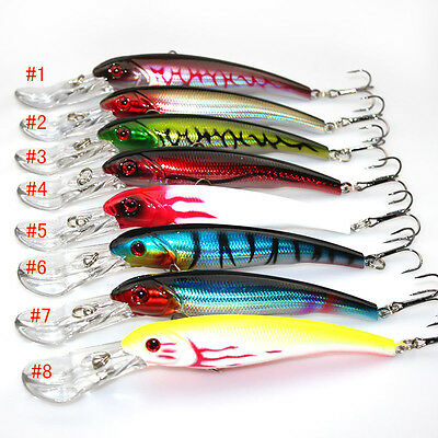 3D Eyes Plastic Wobbler Minnow Fishing Lure Saltwater Hard Hook Bait 16.5cm/29g