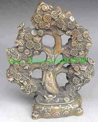 chinese brass tiger money coin Cash cow tree wealth lucky statue