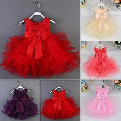 Newborn Flower Wedding Party Pageant Princess Sequins Dress Baby Girl Tutu Dress