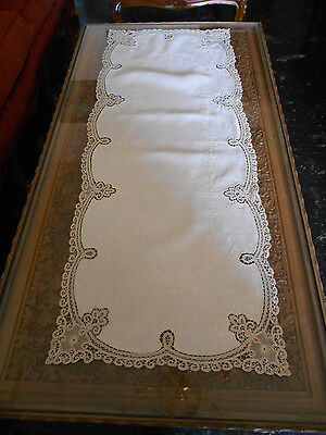 Antique Table Runner  Handmade Fine Lace Needle Work&white Work Embroidered,1860