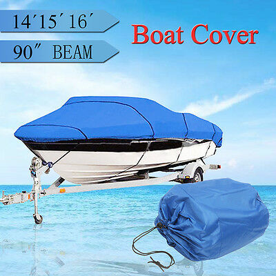 "Waterproof Boat Cover 14-16ft beam-90"" Heavy Duty Trailerable Fish-Ski V-Hull"