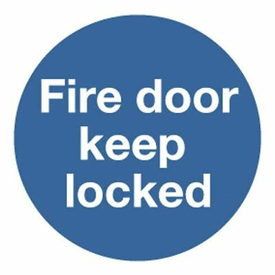 Safety Sign Fire Door Keep Locked 100x100mm Self-Adhesive  [SR71260]