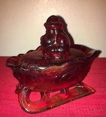 Santa On Sleigh Candy Dish Red Carnival Glass Christmas  Westmoreland !