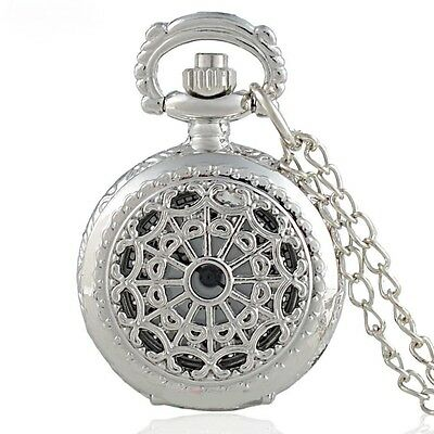 Super Cute Silver Spider Web Mini Pocket Watch Pendant Necklace - Perfect Gift